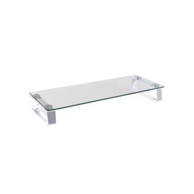 Logilink TV standaard: Glass tabletop monitor riser, max. 20 kg - Metallic, Transparant