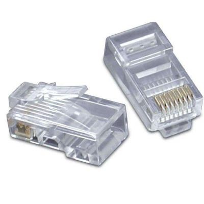 C2G RJ45 Cat5 8x8 modular plug for flat stranded cable, 50pk Kabel connector - Wit