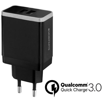 Mobiparts Quick Charge Wall Charger Dual USB 4.6A Black Oplader - Zwart