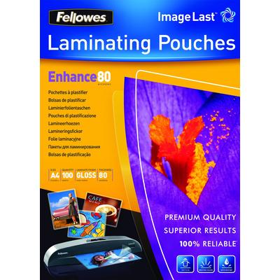 Fellowes ImageLast 80 micron lamineerhoes glanzend A4-100pk Laminatorhoes - Transparant