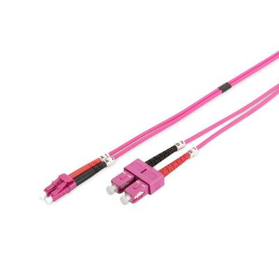 Lanview 2x SC - 2x LC Multimode fibre cable, duplex, OM4, LSZH, Purple, 2 m Fiber optic kabel - Paars