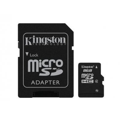 Kingston technology flashgeheugen: 8GB microSDHC - Zwart