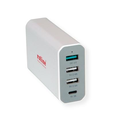 ROLINE USB Charger, 4 Ports (3x USB + 1x USB C), max. 40W Oplader - Wit
