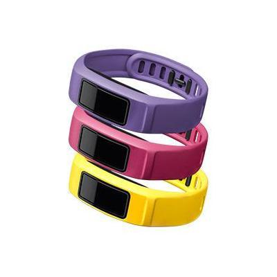 """Garmin : 3 x banden voor Vivofit 2, S (4.7-6.9""""/120-175 mm), Energie (kanariegeel/roze/violet) - Roze, Violet, Geel"""