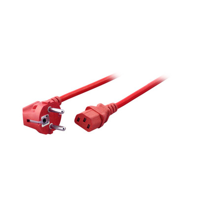 EFB Elektronik Power Cable 90° - C13 180°, red Electriciteitssnoer - Rood