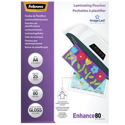Fellowes ImageLast 80 micron lamineerhoes glanzend A4-25pk Laminatorhoes - Transparant