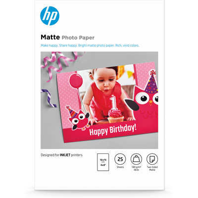 HP mat - 25 vellen/10 x 15 cm Fotopapier - Wit
