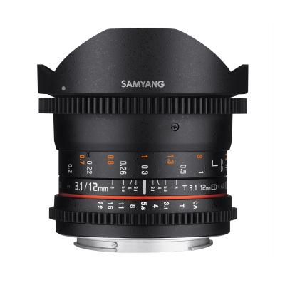 Samyang 12mm T3.1 VDSLR Canon EF Camera lens - Zwart