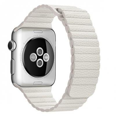 Apple : Wit leren bandje, 42 mm, M