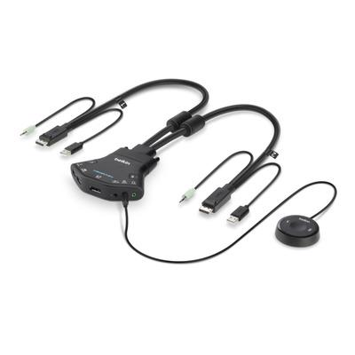 Belkin Secure 2-port Flip DP-to-DP KVM, PP 3.0, USB, Audio, DisplayPort, 4K@30 hz KVM switch - Zwart