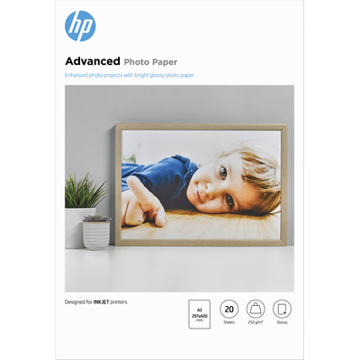 HP Advanced Photo Paper, glanzend, 20 vel, A3/297 x 420 mm fotopapier