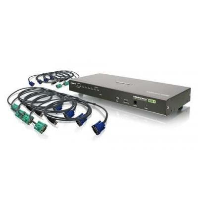 Iogear 8-Port USB PS/2 Combo VGA with USB KVM Cables KVM switch - Zwart