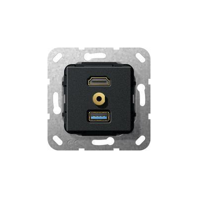 "GIRA Basiselement HDMI ""High Speed with Ethernet"", USB 3.0 Type A en mini-jack 3.5 mm Verloopkabel Wandcontactdoos ....."