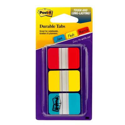 Post-It Tabs, 1 inch Solid, Red, Yellow, Blue, 22 Tabs/Color, 66/Dispenser - Blauw, Rood, Geel