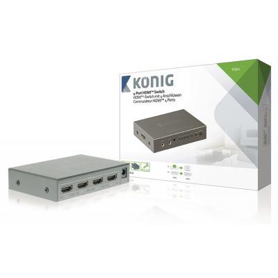 König hardware: Konig, 4-Poorts HDMI Schakelaar (Donkergrijs)