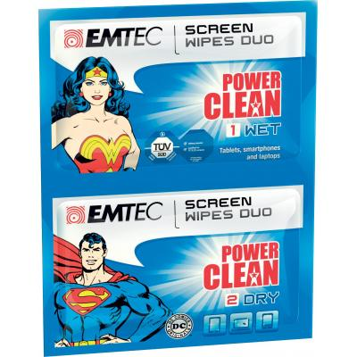 Emtec reinigingskit: Duo wipes Superman & Wonder Woman - Multi kleuren
