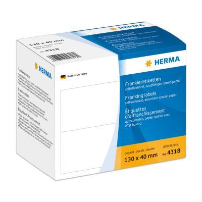 Herma etiket: Frankeer-etiketten dubbel 130x40 1000 St. - Wit