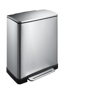 Eko - europe prullenbak: E-Cube Step Bin 50L - Roestvrijstaal