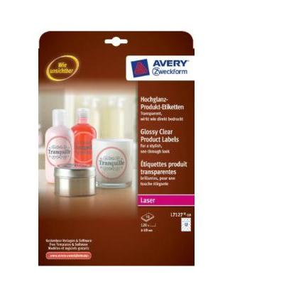 Avery etiket: Glossy Clear Product Labels, round Ø 60 mm - Transparant