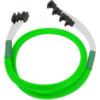 Nanoxia 4x SATA - 4x SATA, 0.7m ATA kabel - Groen, Wit