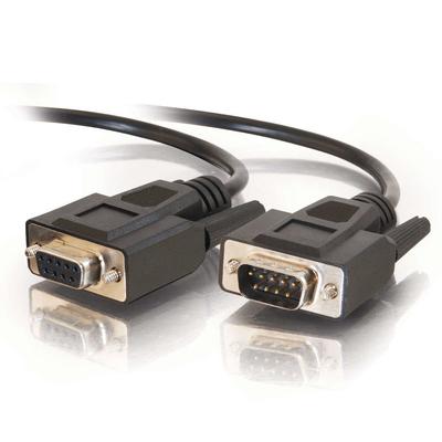 C2G 5 m DB9 RS232 M/F verlengkabel - zwart Seriele kabel