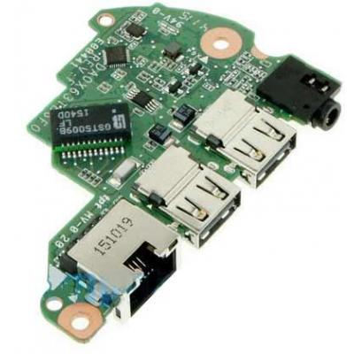 Hp notebook reserve-onderdeel: Connector board, Includes connectors for RJ-45, audio, and 2 USB ports - Groen, Metallic