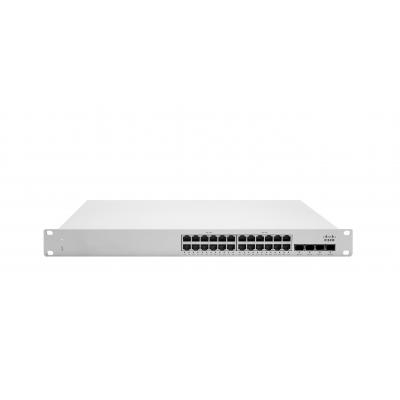 Cisco switch: Meraki MS225-24P L2 Stck Cld-Mngd 24x GigE 370W PoE Switch - Grijs