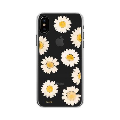 FLAVR Real Flower Daisy Mobile phone case - Transparant, Wit, Geel