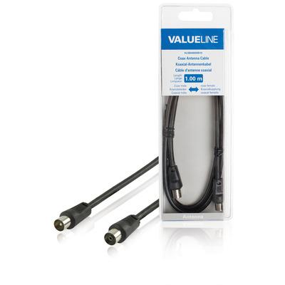 Valueline Coax antennekabel, coax mannelijk - coax vrouwelijk, 1.00 m, zwart Coax kabel