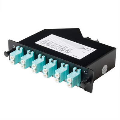 ACT Cassette 1xMTP - 12xLC OM3 duplex aqua Fiber optic adapter - Zwart, Turkoois