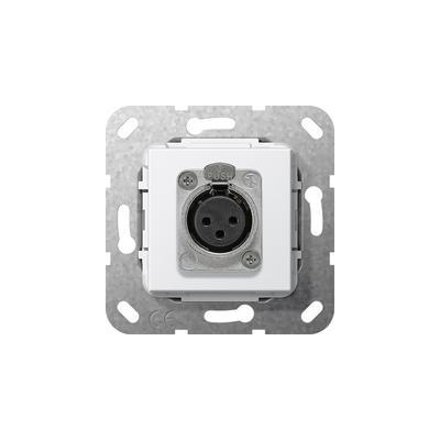 GIRA Basiselement XLR-aansluiting, D-serie Soldeeraansluiting, zuiver wit glanzend wandcontactdoos
