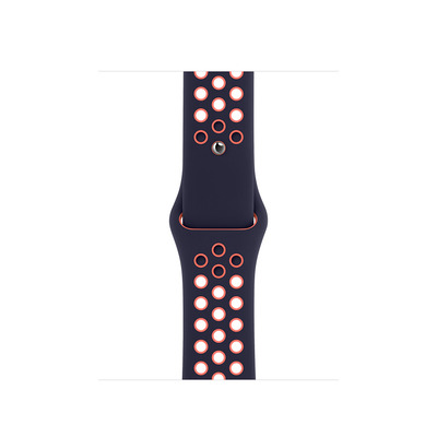 Apple 40mm Blue Black/Bright Mango Nike Sport Band – Regular - Zwart,Blauw,Roze