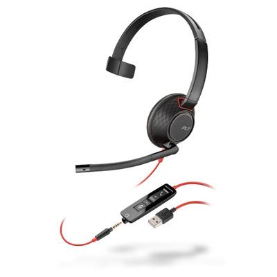 POLY Blackwire 5210 Headset - Zwart,Rood
