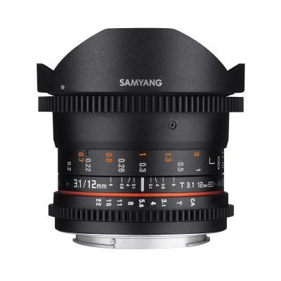 Samyang 12mm T3.1 VDSLR Pentax K Camera lens - Zwart