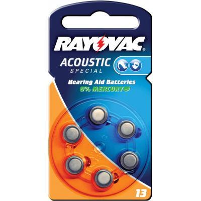 Rayovac batterij: Hearing aid 13, 6-pack - Zilver