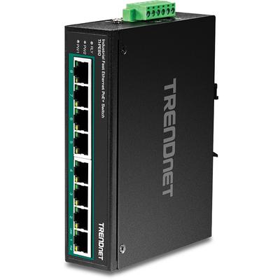 Trendnet TI-PE80, 8x 100MBs PoE+ RJ-45, 6-pin terminal block, 1.6Gbps, 1.19Mpps, 48-56VDC, IP30, 142x105x37 mm .....