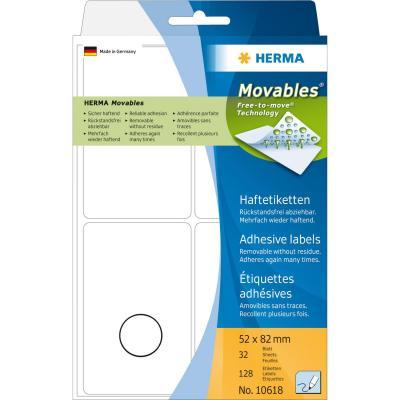 Herma etiket: Multi-purpose labels 52x82 mm white Movables/removable paper matt 128 pcs - Wit