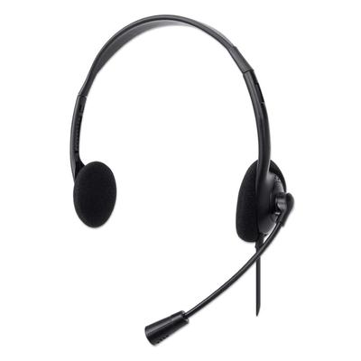 Manhattan Stereo USB, Lightweight Over-Ear design, Adjustable microphone, USB-A plug, Black Headset - Zwart