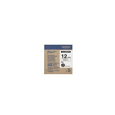 Brother HG131V5, 12mm, 8m Etiket - Zwart, Transparant
