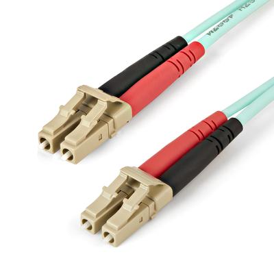 StarTech.com 2m OM4 Duplex Multimode glasvezelkabel 50/125 LC fiber patchkabel Aqua Fiber optic kabel