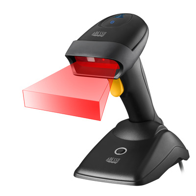 Adesso NuScan 2500TB - Bluetooth Spill Resistant Antimicrobial 2D with Charging Cradle Barcode scanner - Zwart
