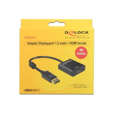DeLOCK Adapter Displayport 1.2 male > HDMI female 4K Active black - Zwart