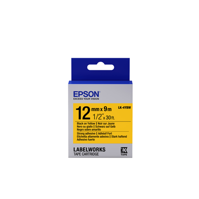 Epson Strong Adhesive Tape - LK-4YBW Strng adh Blk/Yell 12/9 Labelprinter tape