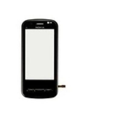 Microspareparts mobile telefoon cover: Nokia C6 Front Cover, Black - Zwart