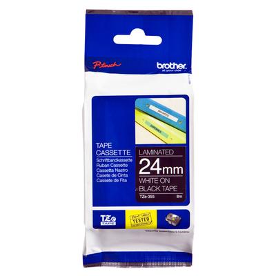 Brother TZe-355 - 24 mm wit op zwarte tape gelamineerd (8 m) Labelprinter tape
