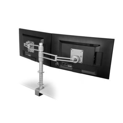 R-go tools monitorarm: Zepher 3 ECO Twin Monitorarm, verstelbaar, zilver