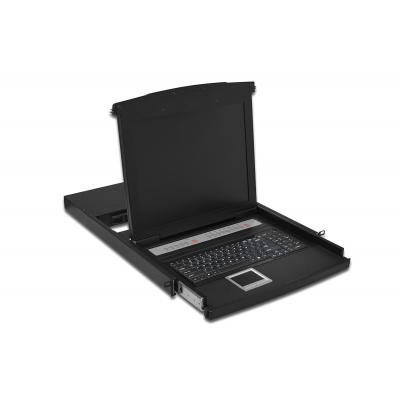 """Digitus rack console: DS-72002US, Console 43,2cm (17"""") TFT, US keyboard, 8-Port, touchpad - Zwart"""