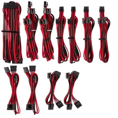 Corsair Premium Individually Sleeved PSU Cables Pro Kit Type 4 Gen 4, Red/Black - Zwart,Rood