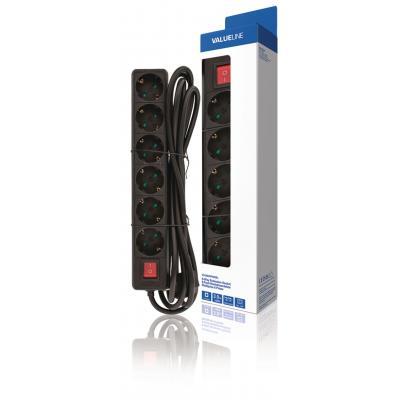 Valueline batterij: Valueline, 6-wegs Schuko Stekkerdoos Kabel 3m (Zwart)