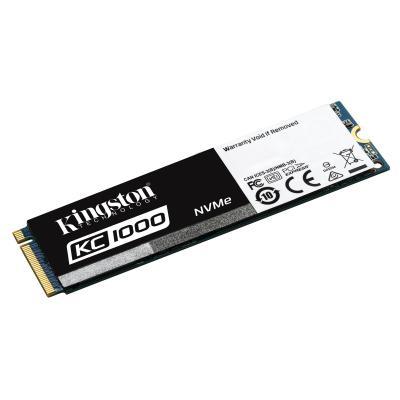 Kingston technology SSD: KC1000 NVMe PCIe SSD 960GB, M.2 - Zwart, Wit